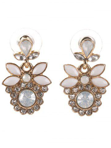 Latest Alloy Faux Gem Leaf Drop Earrings