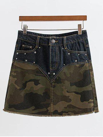 Hot Rivet Design Spliced Camo Print Skirt