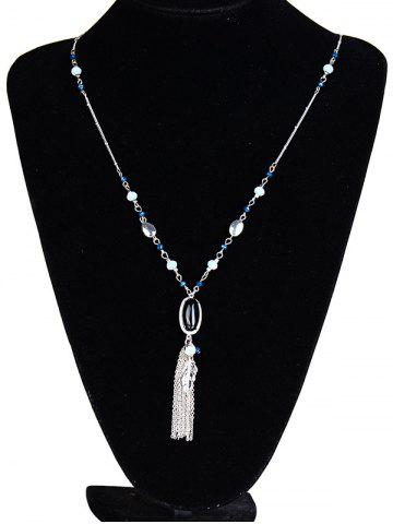 Cheap Beaded Natural Stone Leaf Tassel Necklace