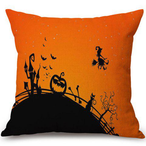Unique Soft Happy Halloween Witch Printed Decorative Pillow Case