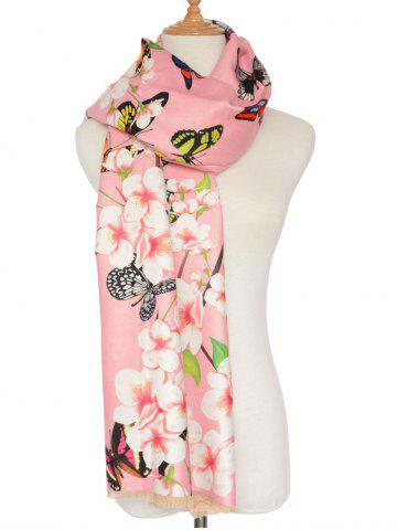 Store 3D Butterfly and Peach Flower Print Shawl Scarf