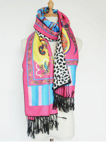 Fancy Ethnic Paisley and Leopard Pattern Tassel Shawl Scarf