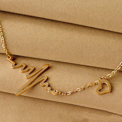 Latest Name Heartbeat Pendant Necklace110 - CHAMPAGNE GOLD  Mobile