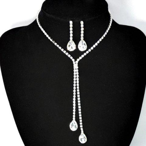 Outfits Teardrop Rhinestone Bolo Necklace Set - WHITE GOLDEN  Mobile