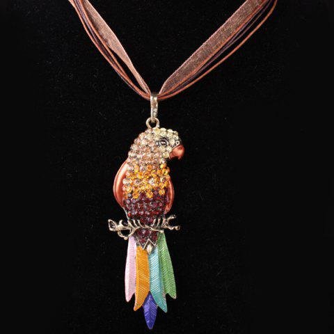 Multi Tone Enamel Rhinestone Parrot Necklace - YELLOW