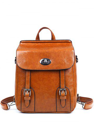 Fashion PU Leather Double Strap Buckles Backpack