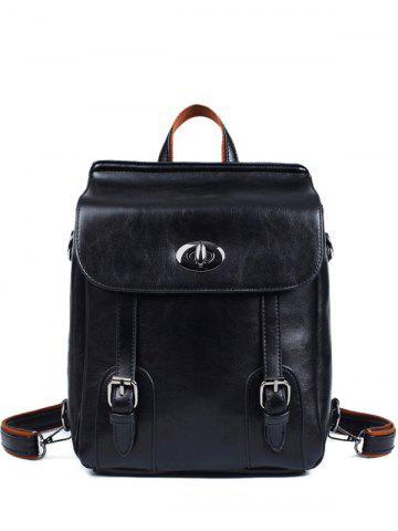 Cheap PU Leather Double Strap Buckles Backpack