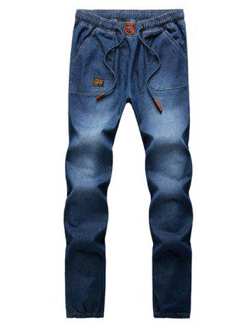 Patch Embellished Elastic Cuffs Denim Jogger Pants - Deep Blue - M