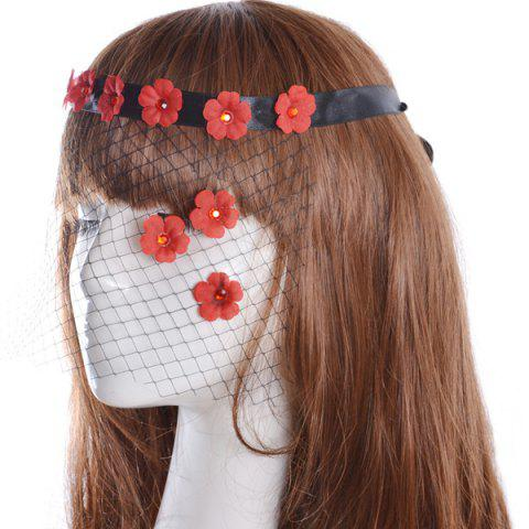 Latest Faux Ruby Floral Hair Accessory Party Mask