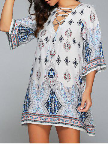 3/4 Sleeve Lace-Up Printed Dress - White - S