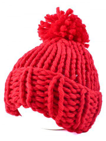 Online Casual Big Ball Flanging Coarser Knit Hat