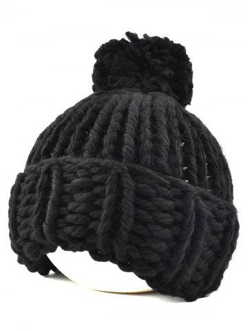 Latest Casual Big Ball Flanging Coarser Knit Hat