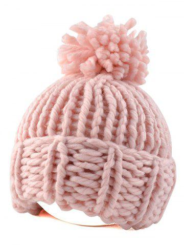 Casual Big Ball Flanging Coarser Knit Hat - Pink