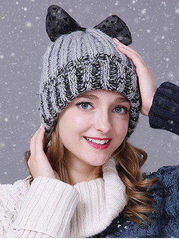 Hot Warm Lace Bowknot Flanging Knitted Faux Wool Hat
