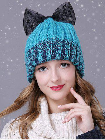 Best Warm Lace Bowknot Flanging Knitted Faux Wool Hat LAKE BLUE