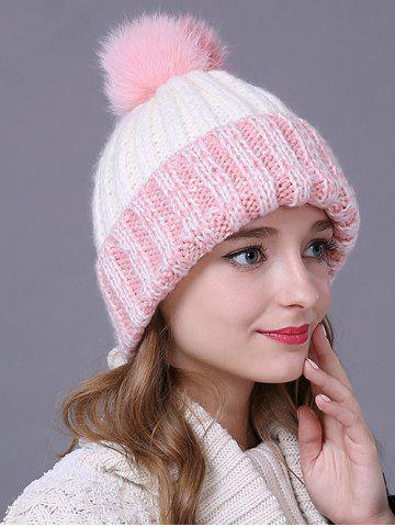 Cheap Warm Fuzzy Ball Flanging Knitted Faux Wool Hat