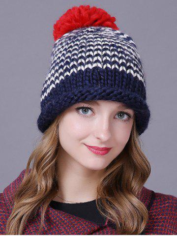 Trendy Warm Big Ball Wavy Stripe Knitted Beanie