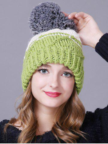 Warm Big Ball Stripy Knitted Faux Wool Hat - LIGHT GREEN