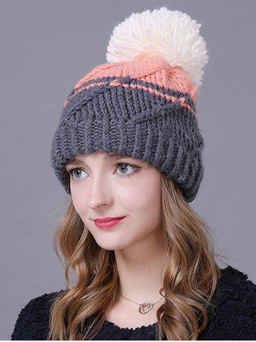 Warm Big Ball Stripy Knitted Faux Wool Hat - Pink