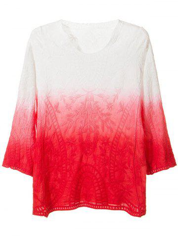 Online Embroidery Ombre Peasant Blouse