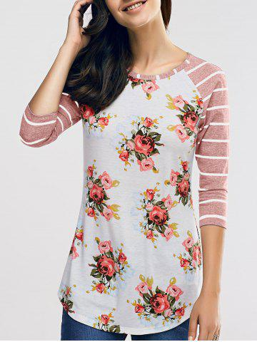 Shops Raglan Sleeve Casual Floral and Striped T-Shirt NUDE PINK S
