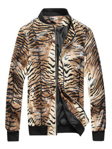 Online Tigrina Print Zip Up PU Leather Jacket