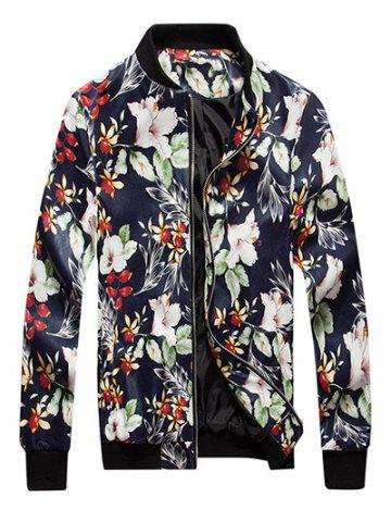 Cheap Floral Print Zip Up PU Leather Jacket