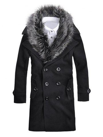 Fur Collar Button-tab Cuffs Wool Peacoat - Black - M