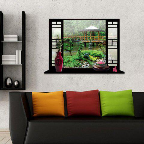 Trendy Removable 3D Stereo Garden Window Design Wall Stickers GREEN