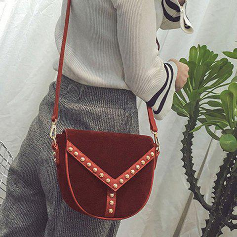 Outfit PU Spliced Faux Suede Rivet Crossbody Bag RED
