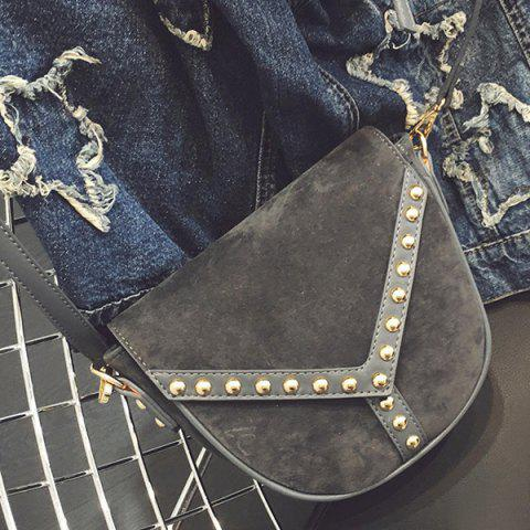 PU Spliced Faux Suede Rivet Crossbody Bag - Gray