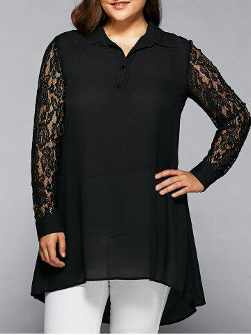 Shop Lace Sleeve High Low Hem Long Shirt BLACK 4XL