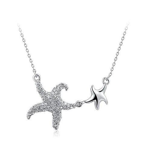 Outfit Artificial Diamond Star Pendant Necklace WHITE GOLDEN