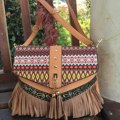 Online Geometric Print Tassels Crossbody Bag