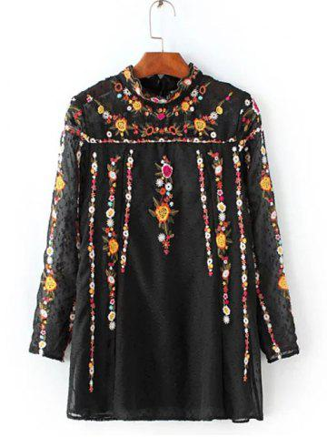 Trendy Ruffled Flowers Mexican Embroidered Spliced Blouse BLACK M