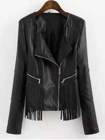 Outfit Fringed Faux Leather Biker Jacket BLACK S
