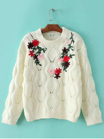 Online Openwork Knitted Flowers Embroidered Sweater