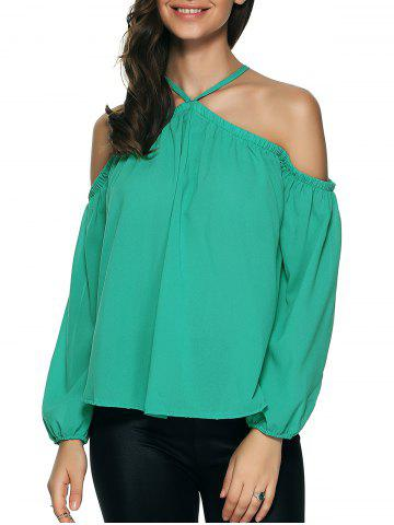 Trendy Cold Shoulder Long Sleeve Chiffon Top