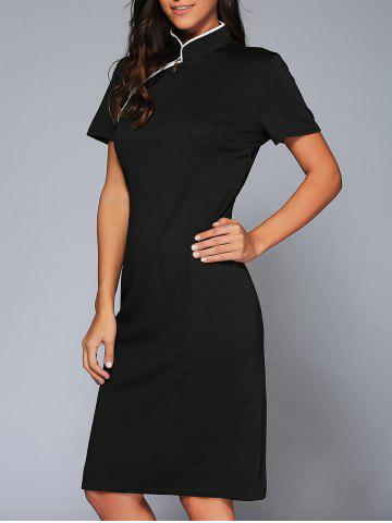 Affordable Mandarin Collar Midi Vintage Sheath Dress BLACK 2XL