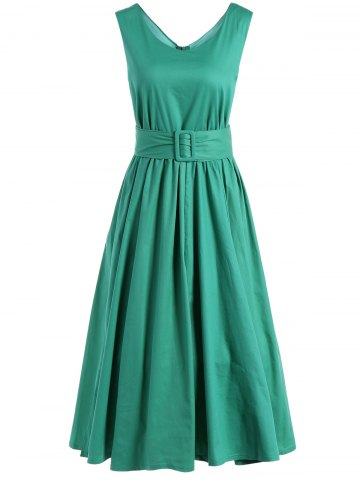 Chic Fit and Flare Belted Vintage Dress