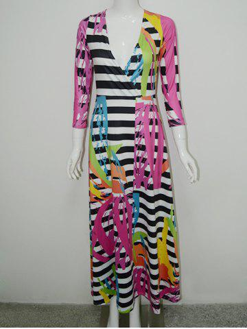 New Surplice Printed Striped Dress