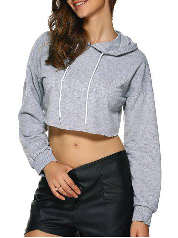 Chic Raw Edge Cropped Hoodie