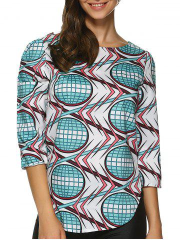 Shop Rounded Hem Printed Top