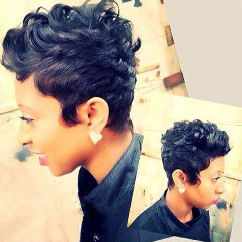 Short Pixie Cut Fluffy Curly Human Hair Capless Wig - Jet Black - S