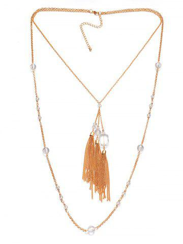 Discount Faux Crystal Layered Fringe Bolo Sweater Chain