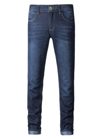 Affordable Plus Size Zipper Fly Pockets Design Slimming Narrow Feet Jeans DEEP BLUE 38