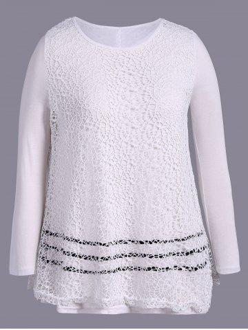 Discount Plus Size Long Sleeve Lace T-Shirt OFF WHITE 4XL