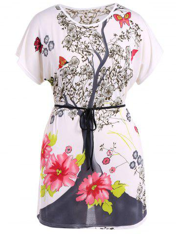 Latest Plus Size Belted Print T-Shirt