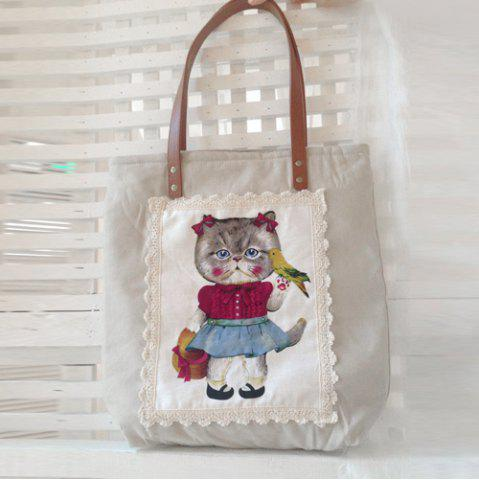Outfit Lace Cartoon Print Tote