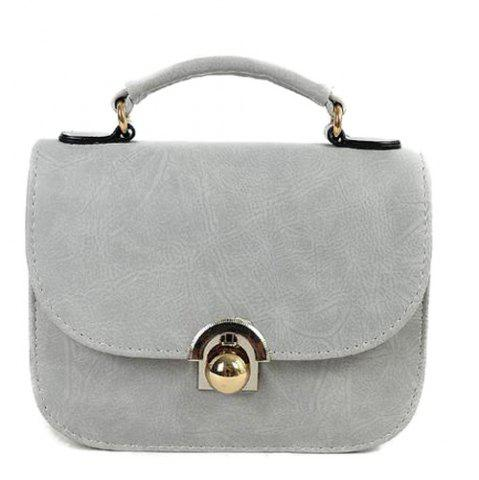Fancy PU Leather Covered Closure Metal Crossbody Bag LIGHT GRAY